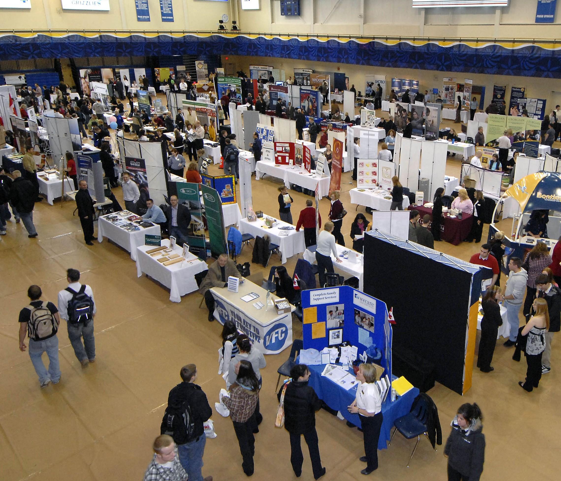 Hundreds of job seekers at a job fair.