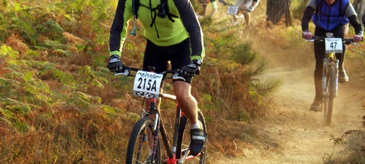 A cyclist in a mountain bike competition.