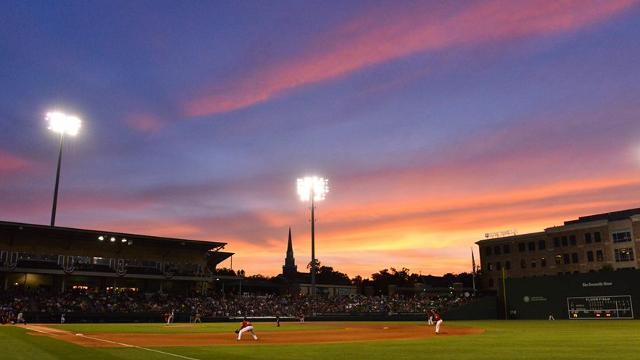 Fluor Field at dusk.