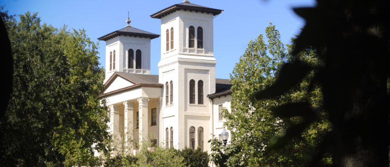 The exterior of Wofford College's main campus.