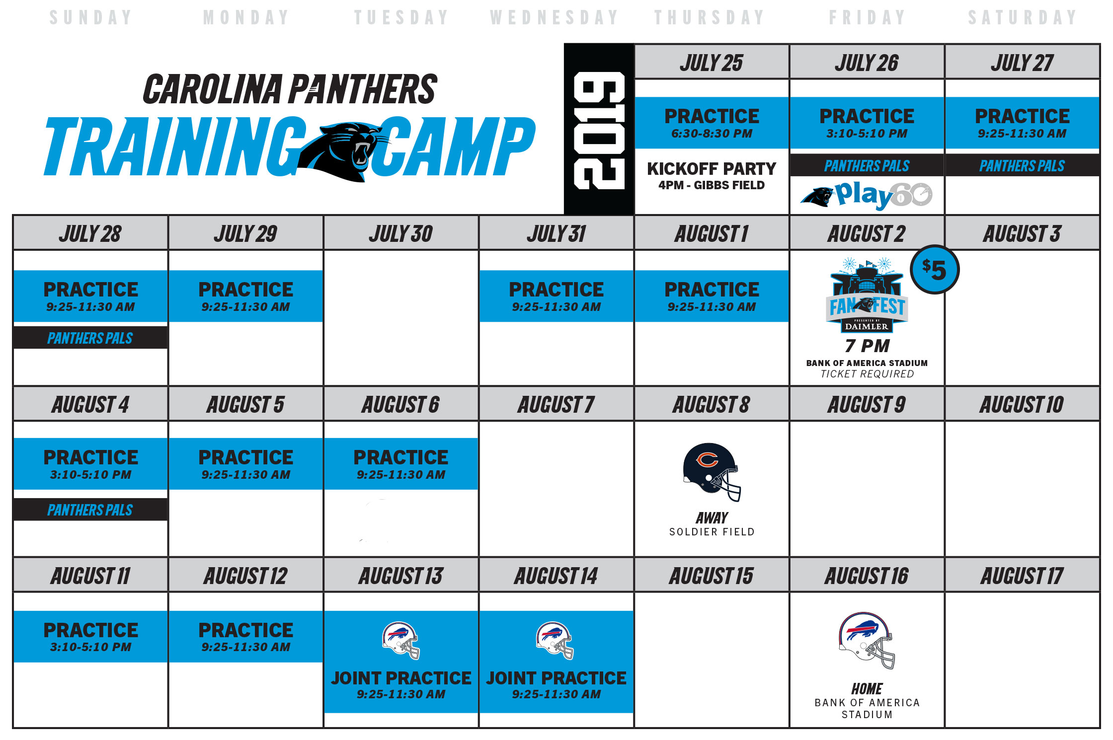2019 Carolina Panthers training camp schedule.