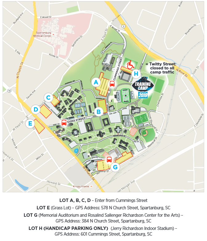 2019 Carolina Panthers training camp shuttle map.