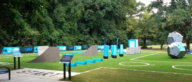 An NFL Play 60 Course at Charlotte's Freedom Park.