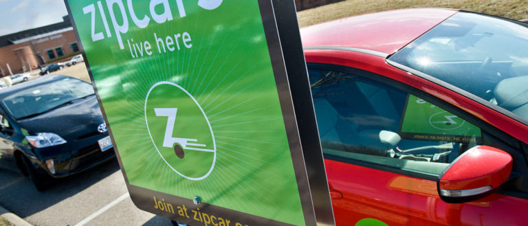 A parking spot with a Zipcar.