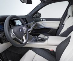 The white interior of a BMW X7.
