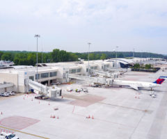 An aerial view of the Greenville-Spartanburg International Airport tarmac.