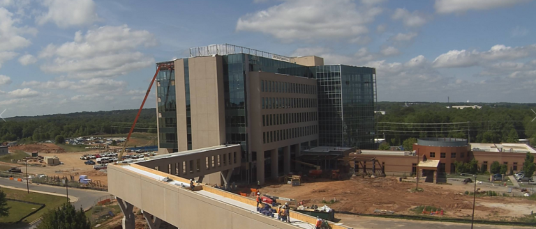 Construction taking place on the new Gibbs Cancer Center & Research Institute.