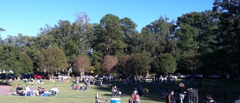 People spread out on a lawn listening to jams at Duncan Park.