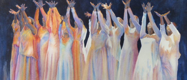A watercolor painting depicting women in white dresses raising their hands to the air.