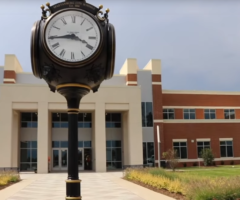 A clock in front of the new Spartanburg High School.
