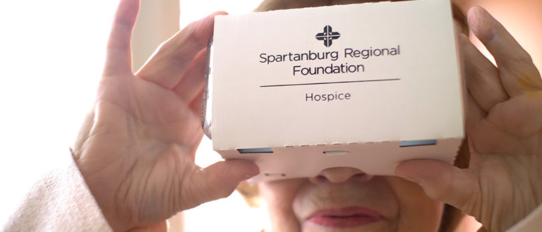 A Spartanburg Regional hospice patient using a virtual reality device.