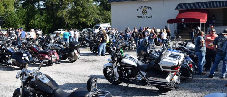 The Southern Legends with their motorcycles, preparing for the Spartanburg Regional Hospice Ride.